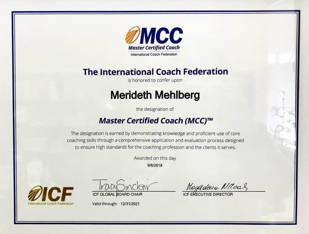 Merideth Mehlberg MCC certificate